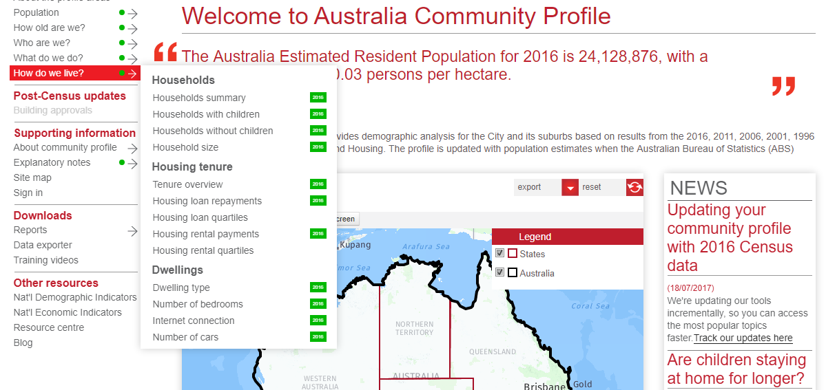 community profile updated at small area geography for 2016 census